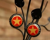 Upcycled Starr Hill Brewery hammered bottle cap earrings with hand-painted backs