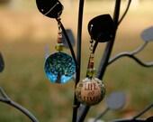 Custom Upcycled beaded bottle cap earrings