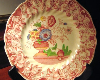ROYAL DOULTON TRANSFERWARE Red and White Bordered Plate with Floral Center