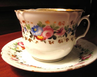 Antique CUP and SAUCER Floral,  Gilded, Oversized