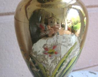 Vintage Gold MERCURY GLASS Vase Handpainted