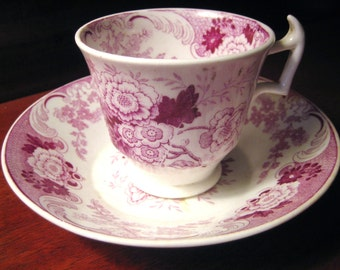Antique English TRANSFERWARE  DEMI TASSE Cup and Saucer Mulberry Color