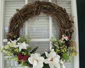 "18"" Grapevine Wreath ""Magnolia Butterfly"""