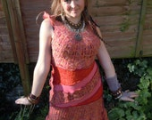 Autumn Shades Upcycled Recycled Sweater Elf DRESS Pixie Festival Clothing