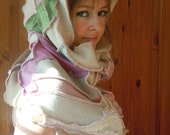 Recycled Sweater Moon Goddess SNOOD Shawl Scarf Elf Hood - white and pink