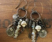 Labradorite, African Coin Silver, Stoneware, Metal and Wood Rustic Gypsy Assemblage Earrings