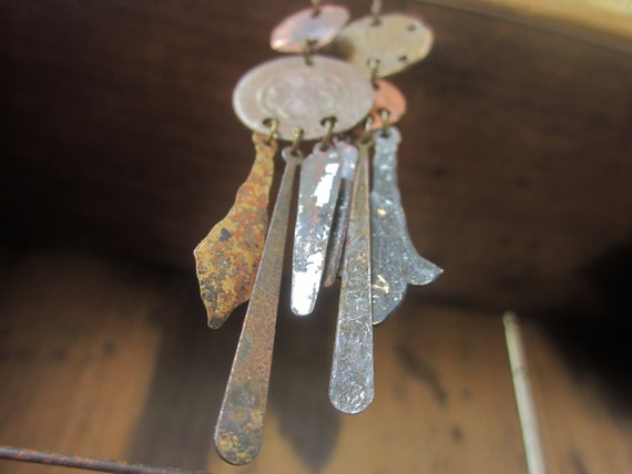 Mixed Metals Distressed Rustic Assemblage Earrings