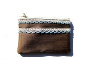 Chocolate Brown Zakka Style Upcycled Zippered Pouch