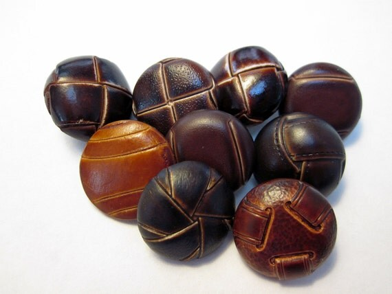 Collection of 9 Brown Faux Leather Shank Buttons