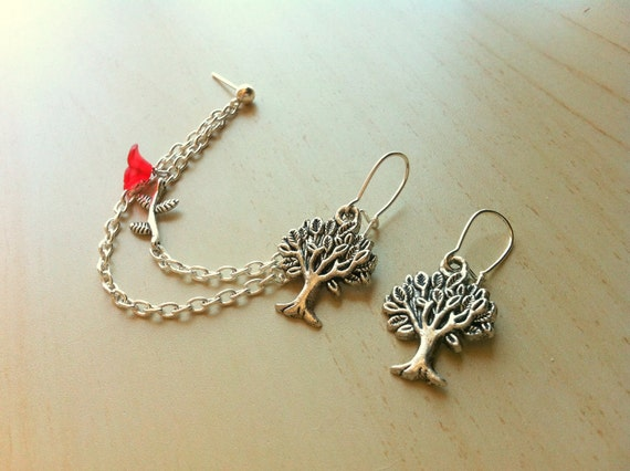 Silver tree and flower with branch nature earring double piercing ear cuff