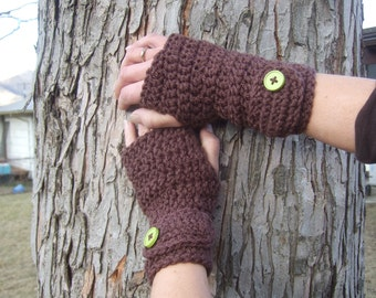 Brown fingerless gloves with hot green button