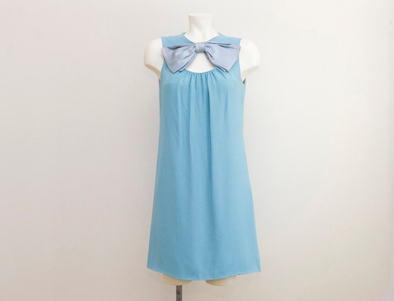 60s Sky Blue Giant Bow Mod Mad Men Tea Party Garden Dress