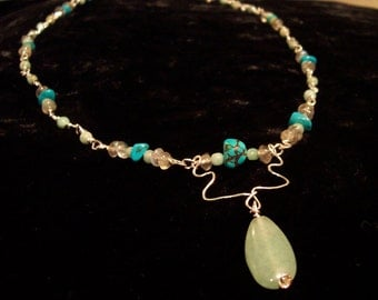 Emerald, Labradorite and Turquoise Necklace with a Teardrop Aventurine Pendant