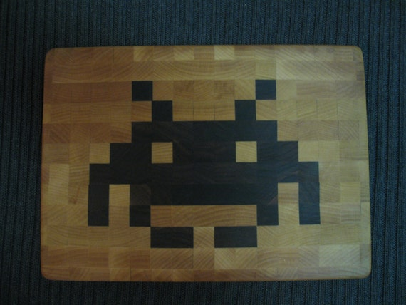 Space Invader - End-Grain Cutting Board / Cheese Board