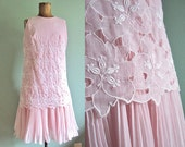 "SALE 15% off use code ""HELLOSUMMER"" vintage 1960s dress/ 60s pink mini dress/ drop waist flapper dress S"