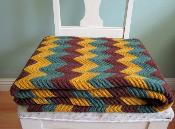 vintage chevron blanket/ granny blanket/ Missoni inspired afghan