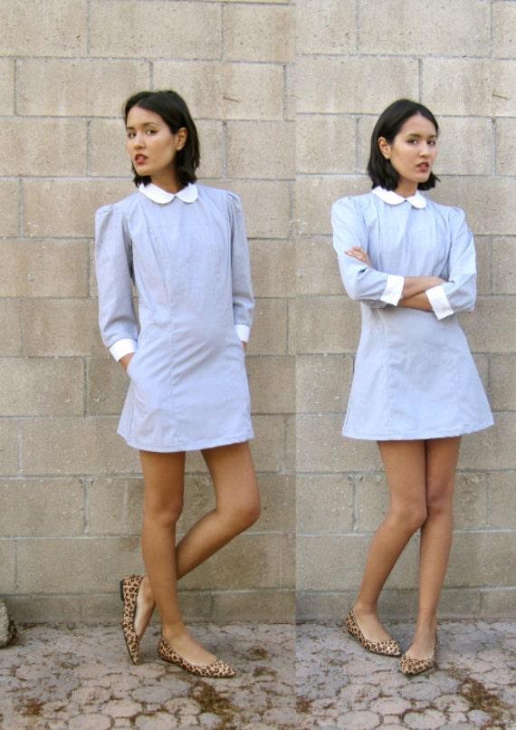 60s peter pan collar dress/ 1960s mini dress/ mod dress S
