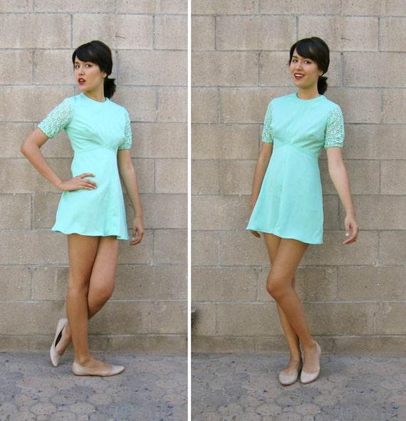 Fine Dress Mint Green Mini Dress 60S Lace Mini Dress Xs Hairstyles For Men Maxibearus