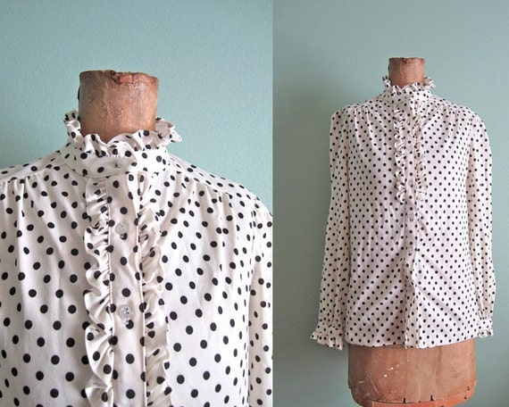 vintage black and white polka dot blouse S-M