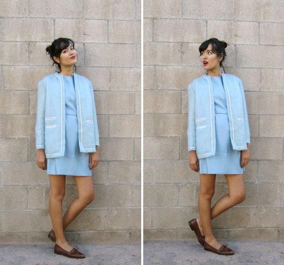 SALE 1960s jacket/ 60s baby blue coat/ mohair jacket