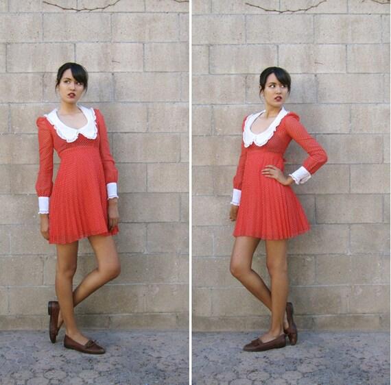 RESERVED peter pan collar dress/ 1960s dress/ 60s mod red mini dress XS