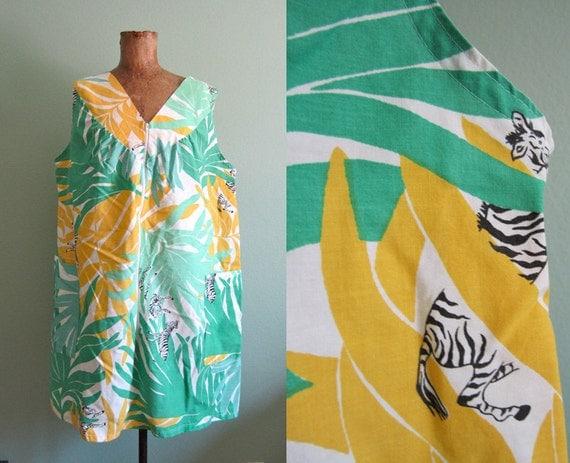 vintage novelty print zebra jungle dress S-M