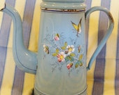 "SALE - Exceptional ""French"" Antique Coffee Pot with filter, Enamelware, Signed"
