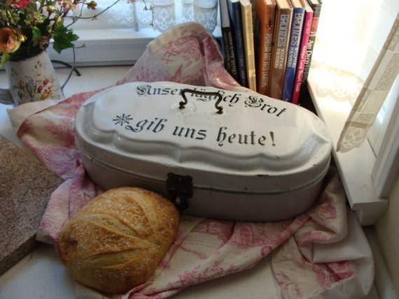 RESERVED:Extremely Rare Antique German Bread Box, Enamelware