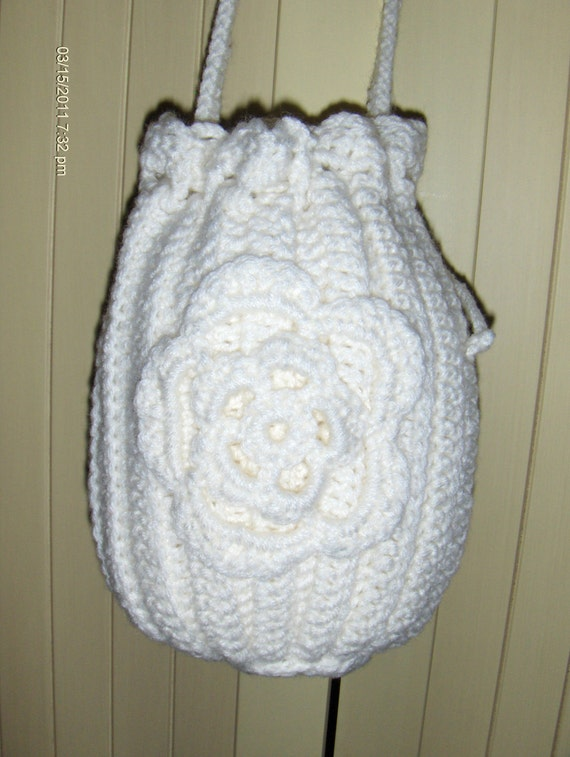 Drawstring Crochet Bag : crochet bags and purses white drawstring wedding accessory Free ...
