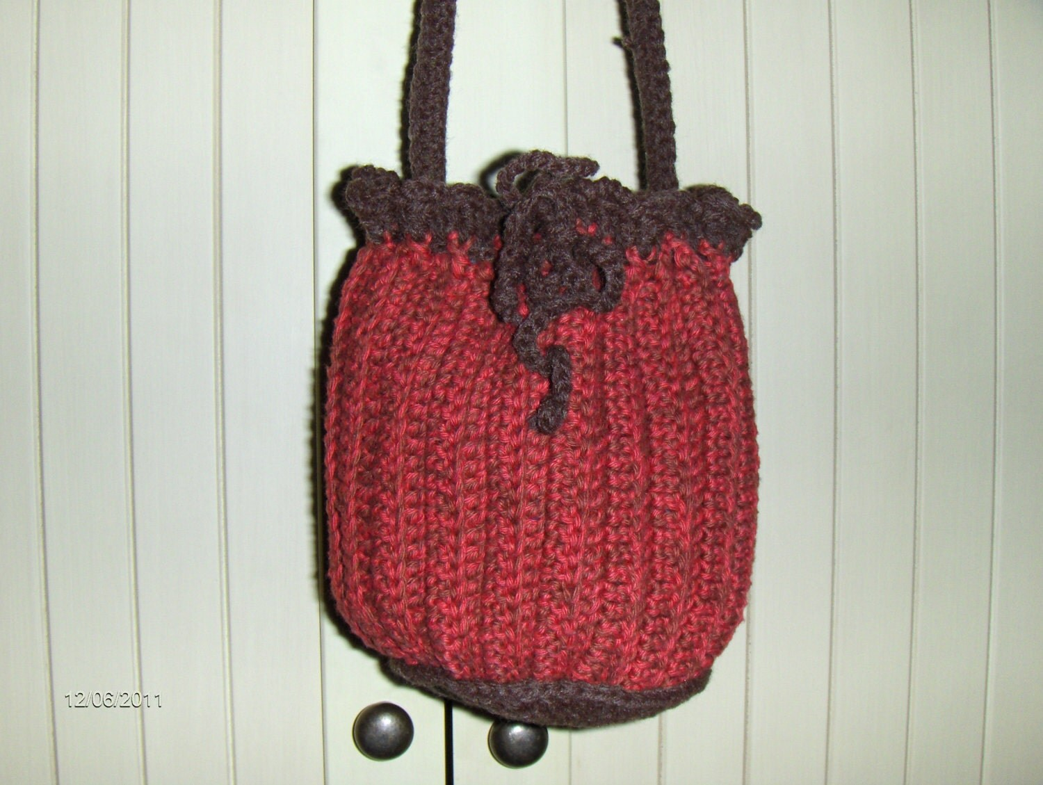 crochet bags and purses drawstring red/orange and by fasten888