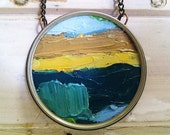 Landscape Necklace - Oil on Canvas in Rustic Frame