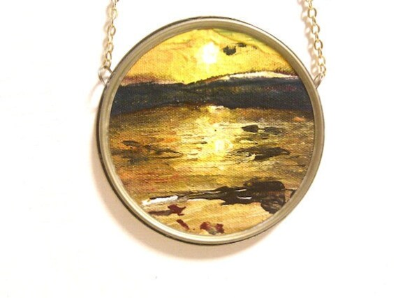 Sunset Painting Necklace in Rustic Frame yellow gold bronze