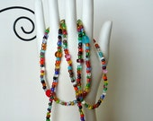 multi-colored seed bead stretchy bracelets