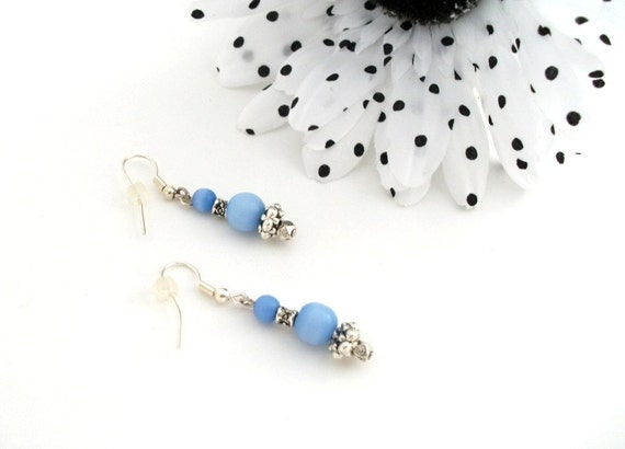 TossOn Earrings Dancing Sky of Sky Blue Glass and Silver Metal Beads