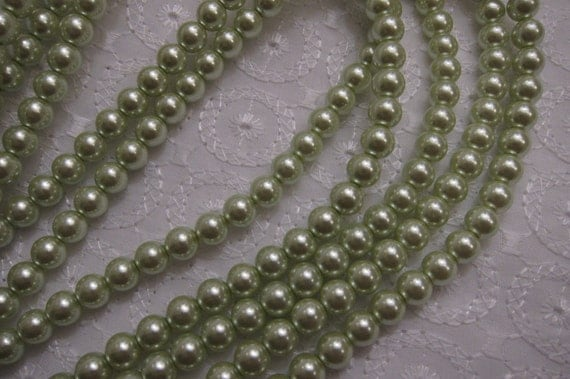 """5/16"""" (8mm) Glass Faux Pearls in Soft Spring Green - Forty-Eight (48) Beads"""