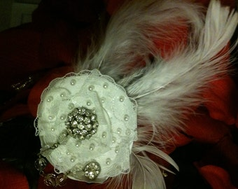 Bridal feather fascinator with chain brooch