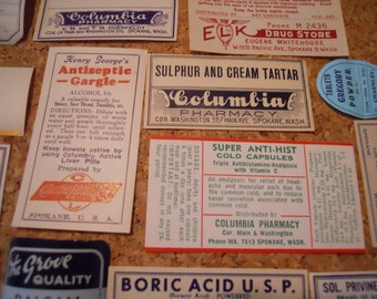 12 Antique Pharmacy Apothecary Drug Poison Labels for Mixed Media, Altered Art, Etc...