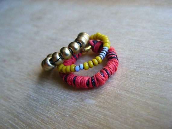 Indie Colorful Toe Rings, Mix and match toe Rings, natural material toe rings, Hippie stacked toe rings