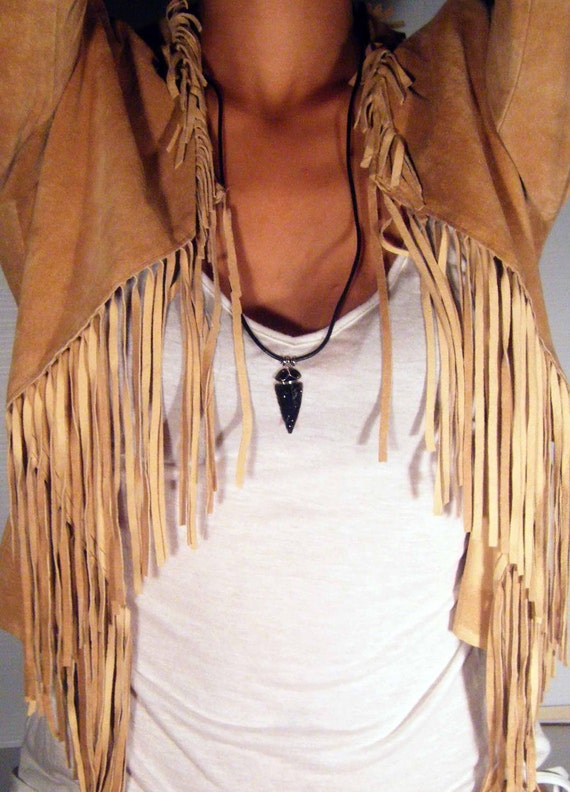 Black ARROWHEAD Necklace with LEATHER cord, The Arrow of Truth