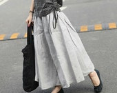 Long Linen Skirt in Grey - Ruffle Maxi Skirt Dress - Custom Made