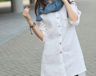 White Linen Shirt - Custom Long Tunic