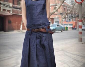 Blue Linen Dress/ Maxi Sundress Long Dress Gown / Maxi Kaftan Caftan/ Navy Dress / XL,XXL, Plus custom A8014