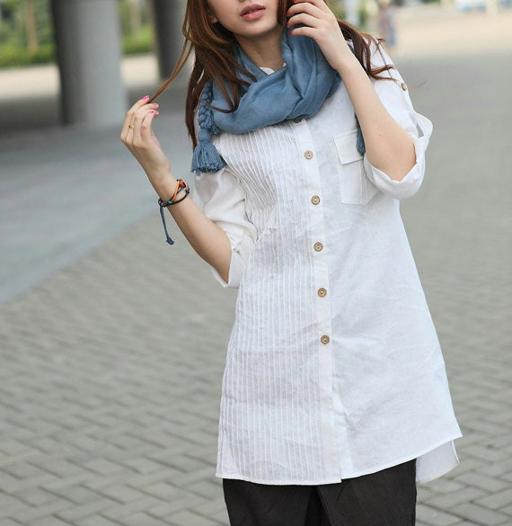 White Linen Shirt - Custom long tunic