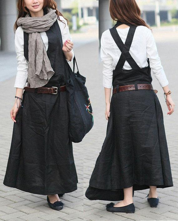 Black Linen Halter Long Dress/ Maxi Sundress - Custom Made, linen dress, linen overall, black dress, long linen dress