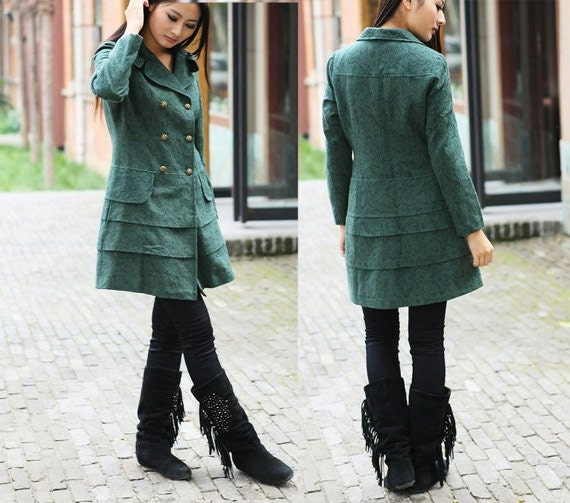 Layered Double Breasted Trench Coat in Floral Green - Custom - Made