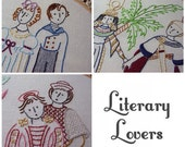Set of 3 Embroidery Patterns PDF - Literary Lovers - Jane Austen - Shakespeare - Includes Color and Stitch Guide