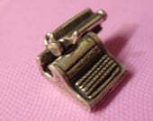 Reduced VINTAGE Sterling Silver 3D Charm MECHANICAL Typewriter for Charm Bracelet   It Moves