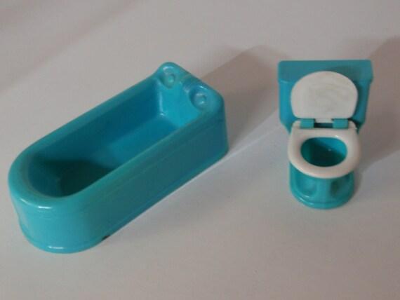 Sale Lot 2 Vintage PLASCO Plastic Aqua Blue Bathroom Fixtures Tub Toilet Doll Furniture