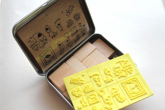 Etsy Holiday - Wooden rubber stamps - Korean stationery 13 piece set