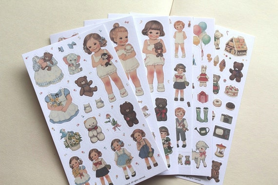 Paper doll stickers - Dress up stickers - Korean stationery - 6 sheets